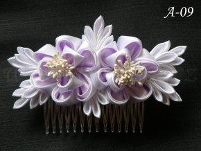 Svatební kanzashi růže na hřebínku A-09