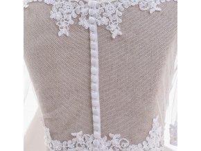 Svatební tylový kabátek lemovaný úzkou krajkou - ivory: BD-108 T