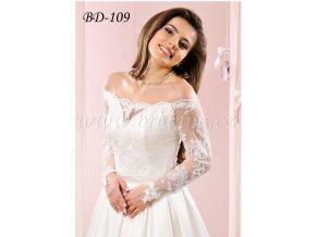 Krajkový svatební kabátek s dlouhým rukávem - bílý: BD-109 V