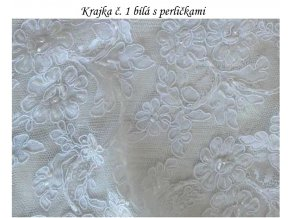 Krajka č. 1 bílá s perličkami