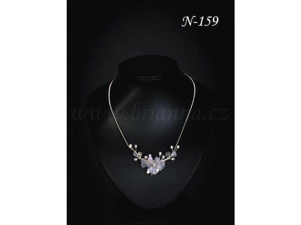 d032e95b0 3004 svatebni nahrdelnik s drobnou prusvitnou kvetinou a listky n 159