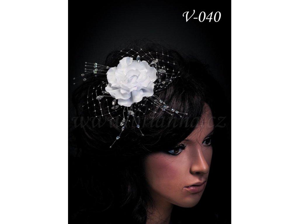 5505c36c8 Svatební ozdoba do vlasů - růže se síťkou V-040 (Barva bílá)