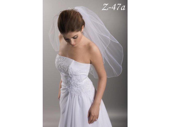 Dvouvrstvý svatební závoj s 30 krystaly Swarovski Z-47a (Barva bílá)