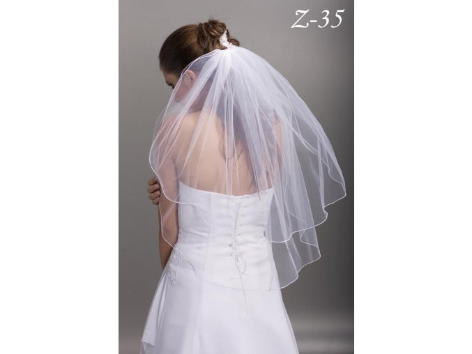 Dvouvrstvý svatební závoj Z-35 (Barva bílá)
