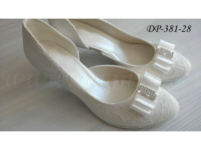 Krajkové svatební boty s ozdobnou přezkou - ecru (Velikost obuvi 42)