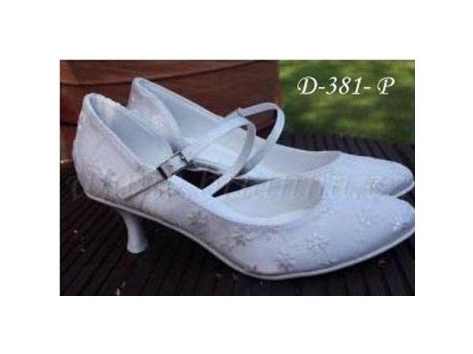 Krajkové svatební střevíčky - bílé (Velikost obuvi 42)