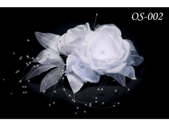 Květinová ozdoba na svatební šaty OS-005 (Barva bílá)