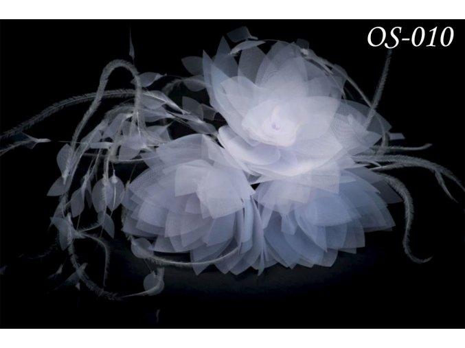 Květinová ozdoba na svatební šaty OS-014 (Barva bílá)