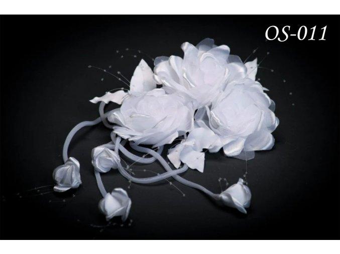 Květinová ozdoba na svatební šaty OS-017 (Barva bílá)