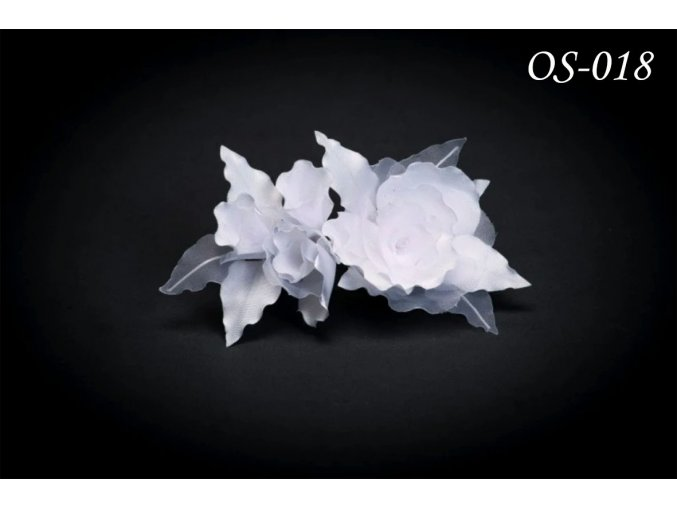 Květinová ozdoba na svatební šaty OS-026 (Barva bílá)