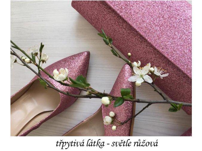 materiál třpytivá růžová látka