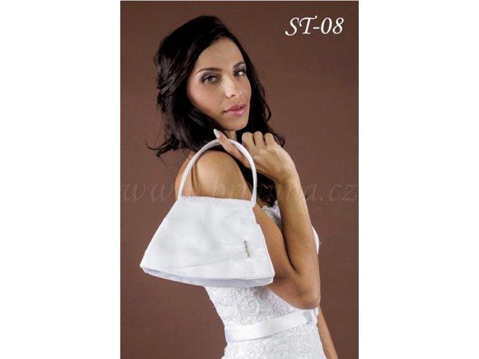 Saténová svatební kabelka se štrasovou sponou ST-08 (Barva bílá)