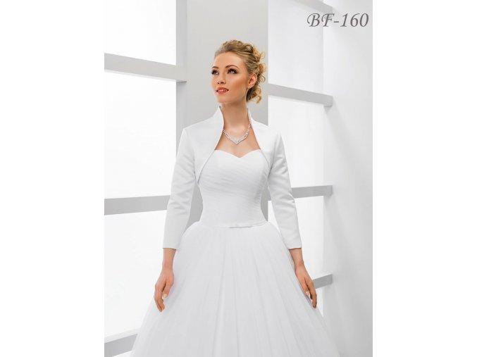 Saténové svatební bolerko s 3/4 rukávem bílé: BF-160 (Velikost XXL)