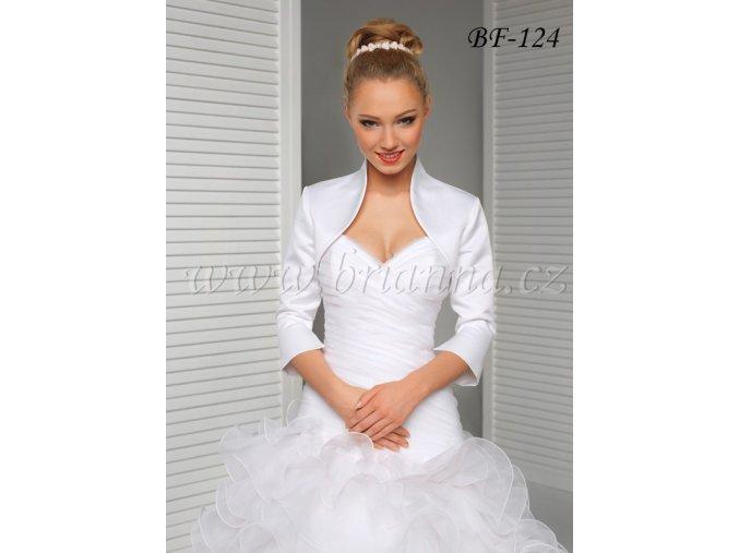 Saténové svatební bolerko s rozšířenými rukávy - bílé: BF-124 (Velikost XXXL)