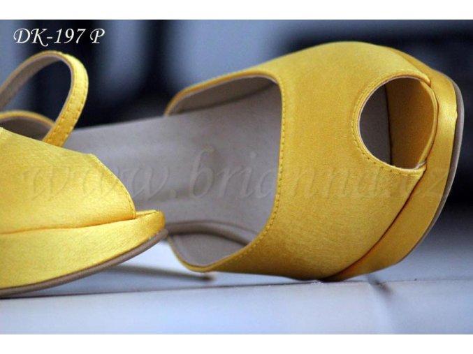 Saténové svatební boty na platformě - tmavě žluté (Velikost obuvi 42)