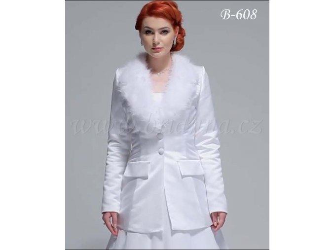 Saténový svatební kabát s kožešinovým límcem - bílý: B-608 (Velikost XXL)