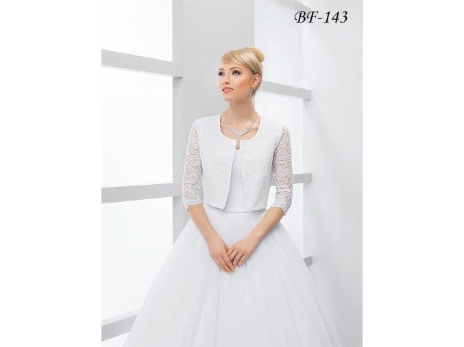 Saténový svatební kabátek pošitý krajkou - ivory: BF-143 (Velikost XXL)