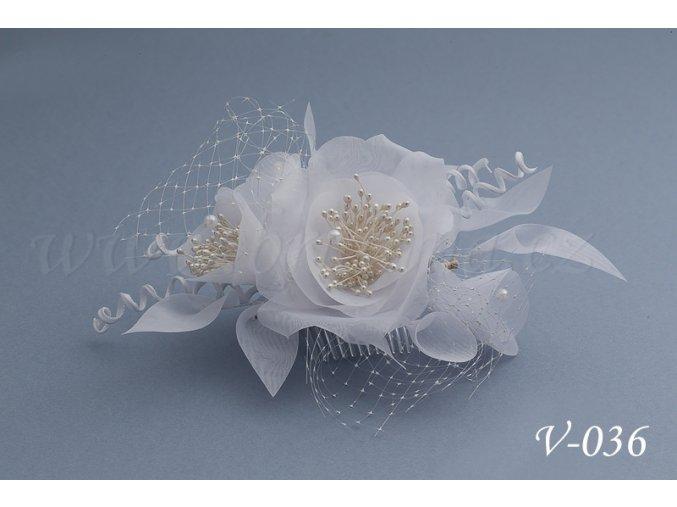Svatební hřeben do vlasů - květinová ozdoba se síťkou V-036 (Barva bílá)