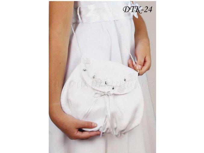 Dětská svatební kabelka vyšívaná krystaly DTK-24 (Barva bílá)