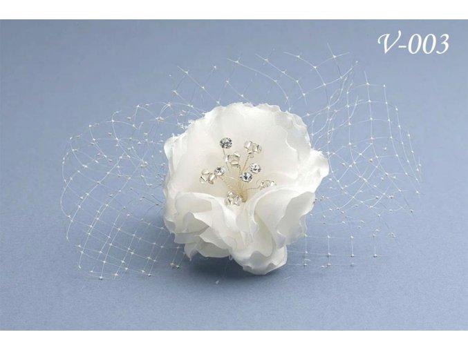Svatební hřeben do vlasů, růže V-063 (Barva bílá)
