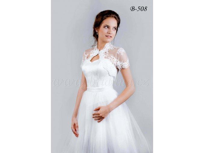 Svatební krajkové bolerko se zapínáním u krku - bílé: B-508 (Velikost XXL)