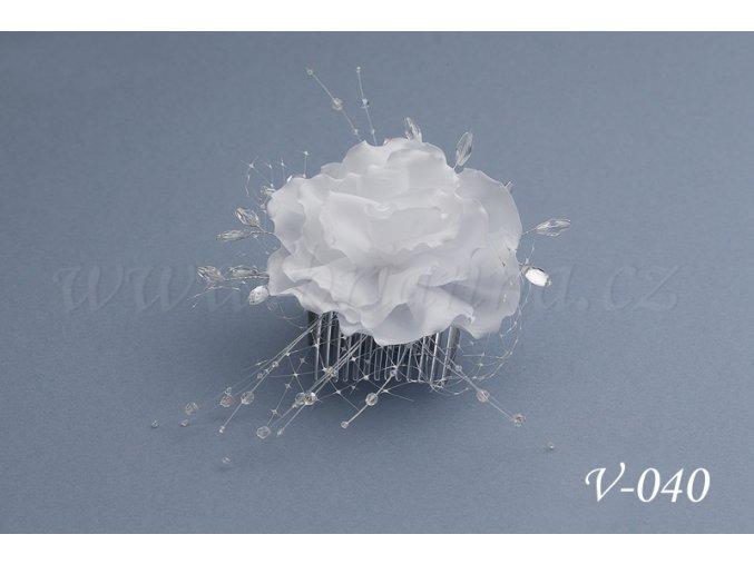 Svatební ozdoba do vlasů -  růže se síťkou V-040 (Barva bílá)