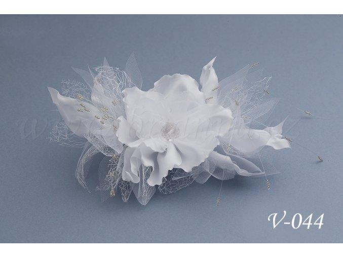 Svatební ozdoba do vlasů - květina V-044 (Barva bílá)