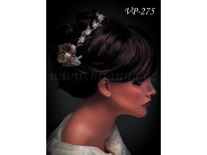 4333 svatebni ozdoba do vlasu kvetinovy pas bilozlaty vp 275