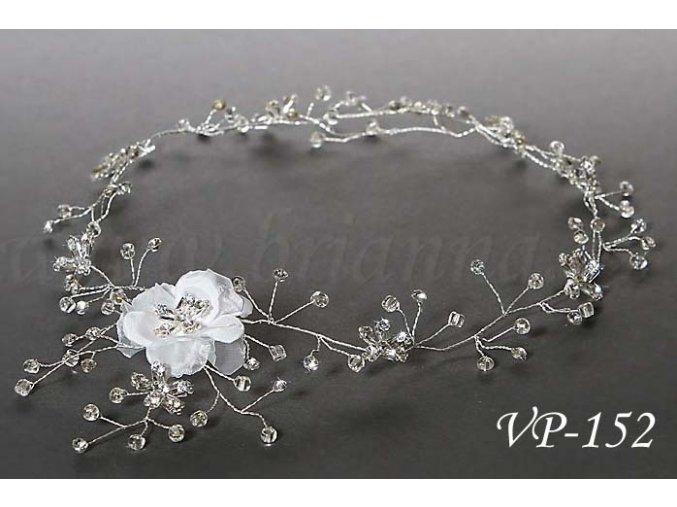 Svatební ozdoba do vlasů - květinový pás VP-152 (Barva bílá)