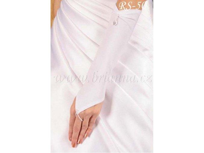 Svatební rukavice s krystalem RS-50 (Barva bílá)