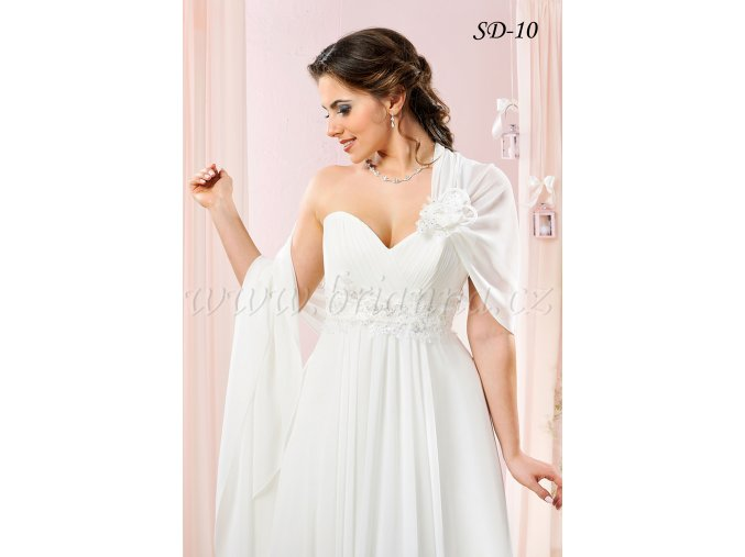 Svatební šifonový šál přes jedno rameno: SD-10, více barev (Barva bílá)