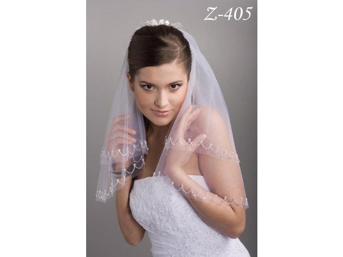 Svatební závoj s 2000 ručně přišívanými korálky Z-405 (Barva bílá)