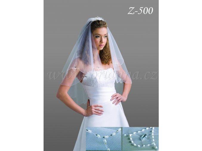 Svatební závoj s 2700 ručně přišívanými korálky Z-500 (Barva bílá)
