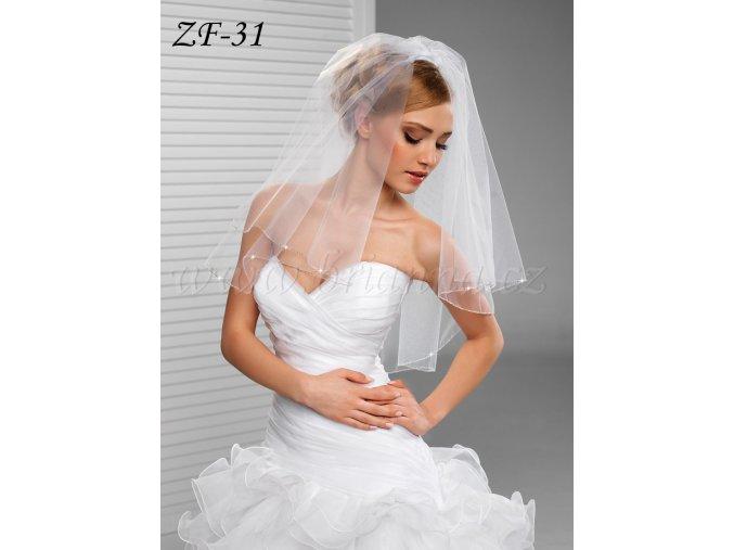 Svatební závoj s korálkovým lemem ZF-31 (Barva bílá)
