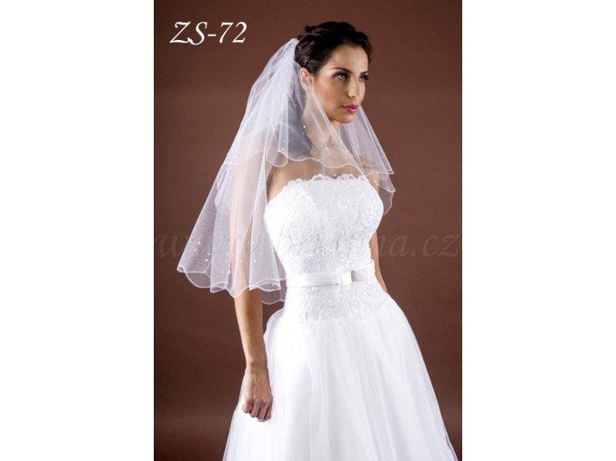 Svatební závoj s krystaly a perličkami ZS-72  BÍLÝ/KRÉMOVÝ (Barva bílá)