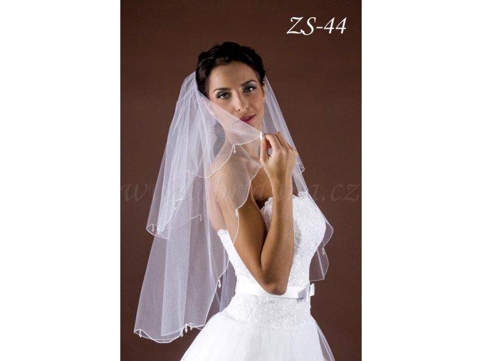 Svatební závoj s velkými krystaly ZS-44  BÍLÝ/KRÉMOVÝ (Barva bílá)