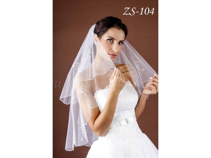 Svatební závoj s výšivkou a krystaly ZS-104  BÍLÝ/KRÉMOVÝ (Barva bílá)