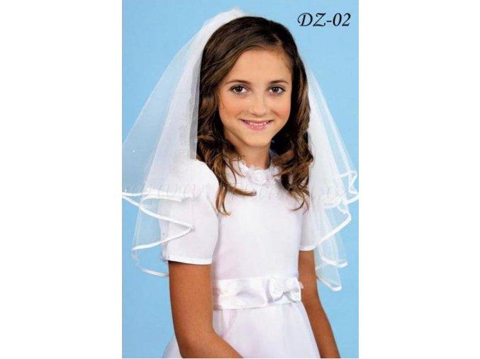Dětský svatební závoj s krystaly a saténovým lemem DZ-02 (Barva bílá)