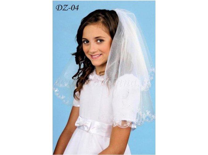 Dětský svatební závoj s výšivkou a krystaly DZ-04 (Barva bílá)