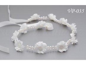 Svadobný kvetinový pás do vlasov s perličkami VP-035