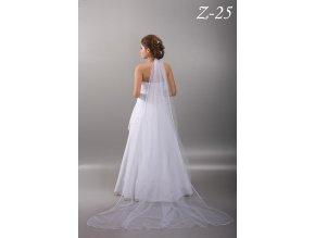 Dlouhý svatební závoj se saténovým lemem Z-25 (Barva bílá)