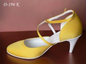 Jednoduché svatební boty s křížovým zapínáním - tmavě žluté (Velikost obuvi 42)