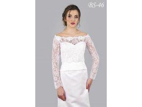 Jemný svatební krajkový kabátek - ecru: BS-10 (Velikost 42)