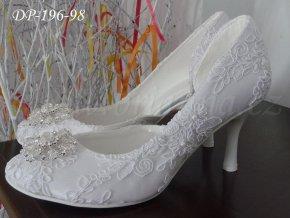 Krajkové svatební boty s broží - bílé (Velikost obuvi 42)