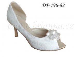 Krajkové svatební boty s ozdobnou sponou - ivory (Velikost obuvi 42)