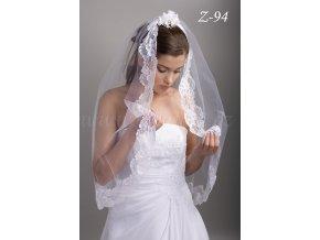 Krajkový svatební závoj Z-94 (Barva bílá)