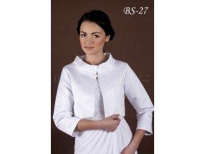 Krátký svatební kabátek se zapínáním u krku - bílý: BS-27 (Velikost 42)