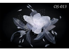 Květinová ozdoba na svatební šaty OS-020 (Barva bílá)