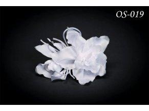 Květinová ozdoba na svatební šaty OS-033 (Barva bílá)