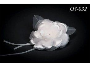 Květinová ozdoba na svatební šaty OS-044 (Barva bílá)